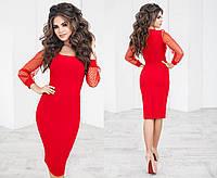 Элегантное красивое женское платье облегающее с сеткой на рукавах в горох  красное 8361a86b3c997