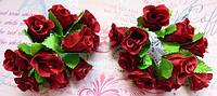 Троянди з тканини (пучок 9-10шт)  бургунді