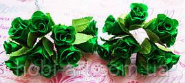 Троянди з тканини (пучок 9-10шт)  зелені