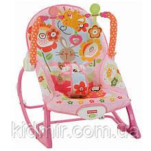 Массажное кресло качалка, шезлонг Розовый кролик Fisher Price Bunny