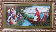 """Вишивка бісером ікона """"Ісус у човні"""" 67.73 х 31.75 см"""