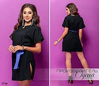 Платье короткое короткий рукав под пояс креп-шифон жатка 42-44,44-46, фото 1