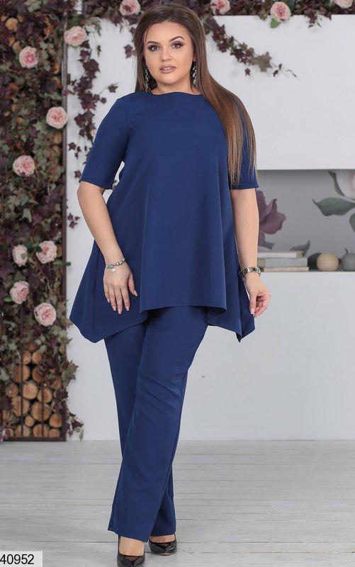 Нарядный женский брючный костюм синий размеры:48-50,50-52,52-54