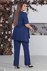 Нарядный женский брючный костюм синий размеры:48-50,50-52,52-54, фото 2