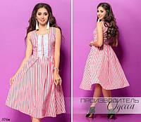 Платье без рукав расклешенное полоска коттон 42-44,44-46, фото 1