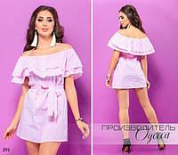 Платье короткое плечи открытые под пояс коттон 42-44,46-48, фото 1