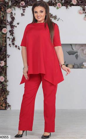 Нарядный женский брючный костюм красный размеры:48-50,50-52,52-54, фото 2