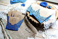 Свадебное приглашение крафт с ажурным синим конвертом, фото 1