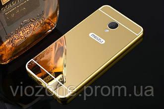 Зеркальный Чехол/Бампер для Meizu M3s Золотой (Металлический)