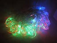 Гирлянда новогодняя светодиодная полумесяц, 40 led-лампочек, разноцветная, прозрачный пвх провод, 220в