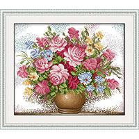 """Вышивка крестиком """"Розовые розы""""  47х41 см."""