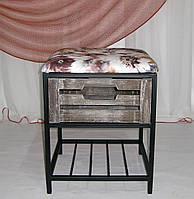Пуфик кованый с полкой и ящиком, фото 1