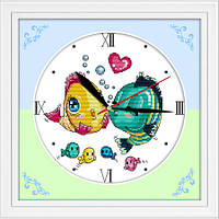 "Вышивка крестиком ""Часы. Поцелуй рыбок""  31х31 см."