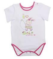 Бодик-футболка для девочки - 1849-55-232-002 белый Код:12351