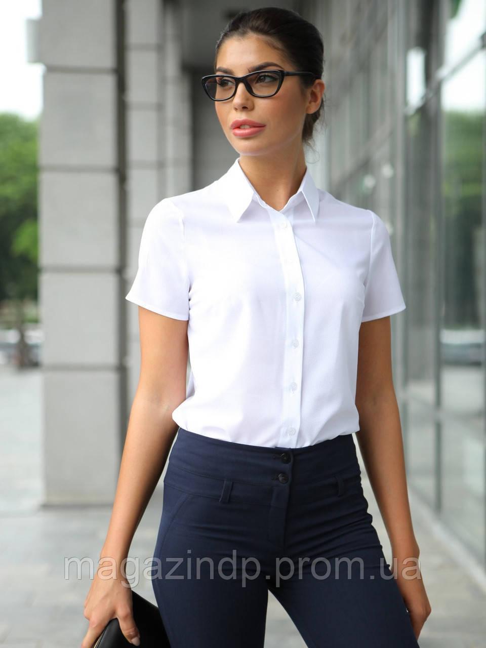 95e164b93a5 Белая блузка с коротким рукавом 4376 Код 14130 - Интернет-магазин У Фёдора в