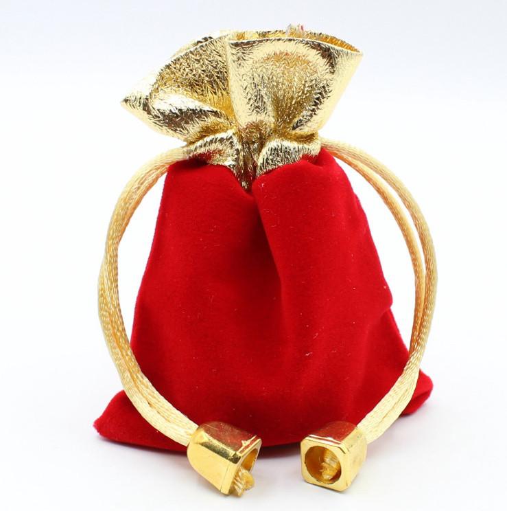 Мешочек подарочный с тканью красный с золотом 7 х 9 см