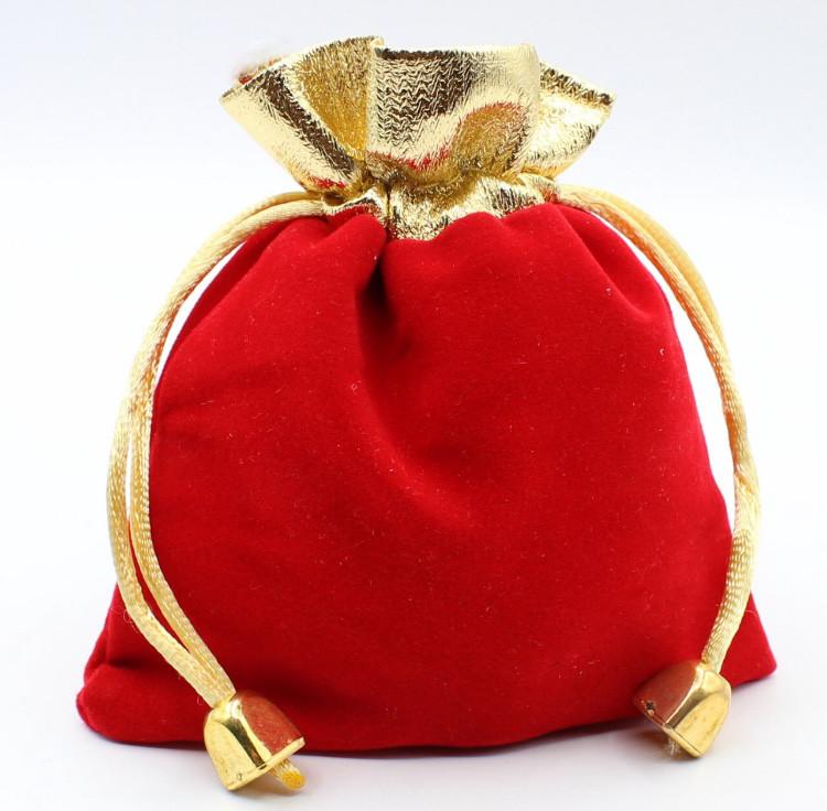 """Мешочек """"Подарочный с тканью 12 х 9 см""""красный"""