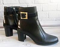 Кожаные ботинки женские на каблуке ОПТ, фото 1