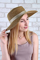 """Шляпа канотье с широким полем """"Фиджи"""" 1810 золото Код:14518"""