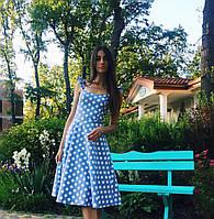 Женское льняное платье миди в горох с пышной юбкой