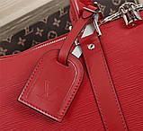 Дорожная сумка Луи Витон, Супрем, 45 см, красная, кожаная реплика, фото 7