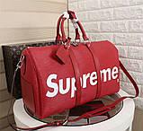 Дорожная сумка Луи Витон, Супрем, 45 см, красная, кожаная реплика, фото 3
