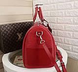 Дорожная сумка Луи Витон, Супрем, 45 см, красная, кожаная реплика, фото 6