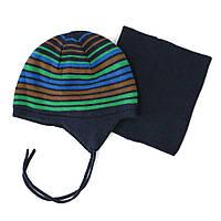 Зимняя шапочка + манишка на мальчиков 3-9 лет (Р. 3/5, 6/8) ТМ Peluche&Tartine 79 EG ACC F16 Imperial Blue