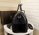 Дорожня сумка Луї Вітон Супрем, 45 см, чорна, шкіряна репліка, фото 3