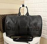Дорожня сумка Луї Вітон Супрем, 45 см, чорна, шкіряна репліка, фото 2