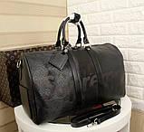 Дорожня сумка Луї Вітон Супрем, 45 см, чорна, шкіряна репліка, фото 5