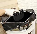 Дорожня сумка Луї Вітон Супрем, 45 см, чорна, шкіряна репліка, фото 6