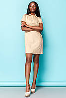 Практичное Платье Рубашка на Лето Бежевое S-XL
