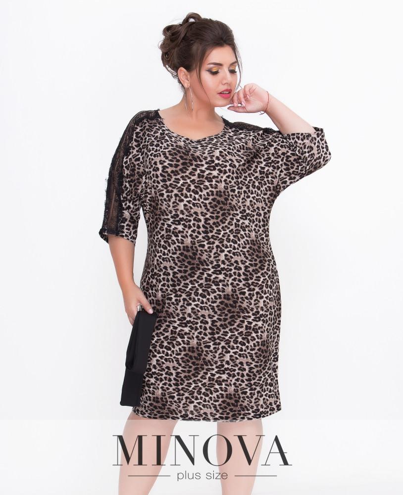 e90ed6917c0 Дерзкое леопардовое платье прямого кроя с рукавами ¾ и мягким съемным  поясом (размеры 50-