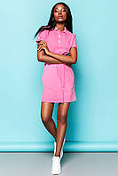 Практичное Платье Рубашка на Лето Фуксия S-XL