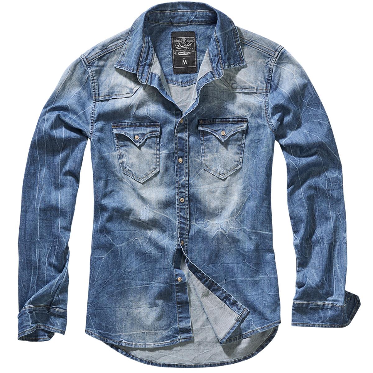 Мужская рубашка джинсовая  Brandit Riley Denim BLUE