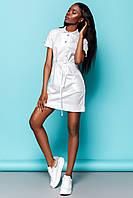 Практичное Платье Рубашка на Лето Белое S-XL