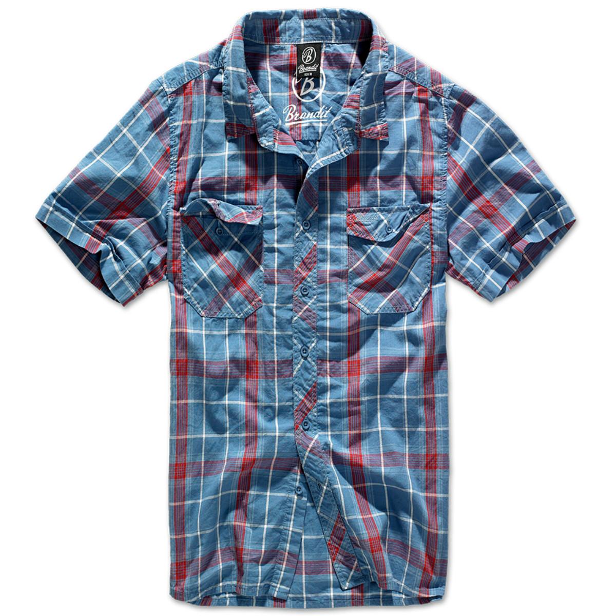 Рубашка в клетку мужская Brandit Roadstar RED-BLUE