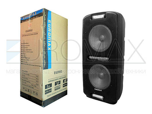"""Акустическая переносная колонка EUROMAX 36х30х80см 2х10"""" 80Вт USB/SD/FM/BT/MIC EU-2002"""