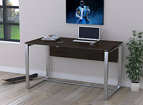 Письменный стол Q-135 с царгой металл Серебристый ДСП Венге корсика (Loft Design TM)