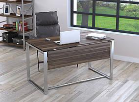 Письменный стол Q-135 с царгой металл Серебристый ДСП Орех модена (Loft Design TM)