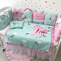 """Комплект в кроватку """"Ласточки розово-голубые"""""""