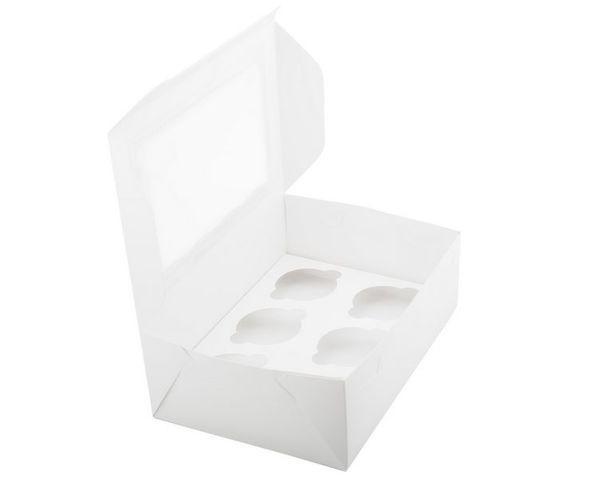 Коробка для маффинов с окошком белая  на 6шт. Галетте - 04049