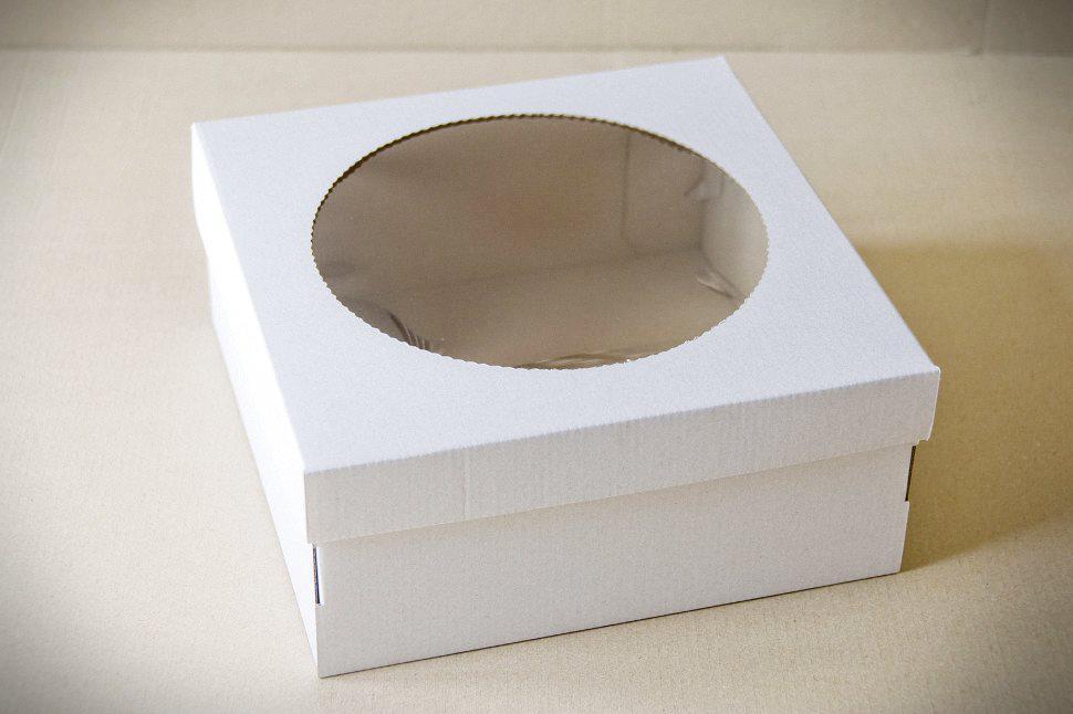 Коробка самосборная для торта, чизкейка 25*25*11 с окошком Галетте - 05090