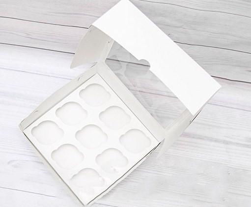 Коробка для маффинов с окошком белая на 9шт. Галетте -05760