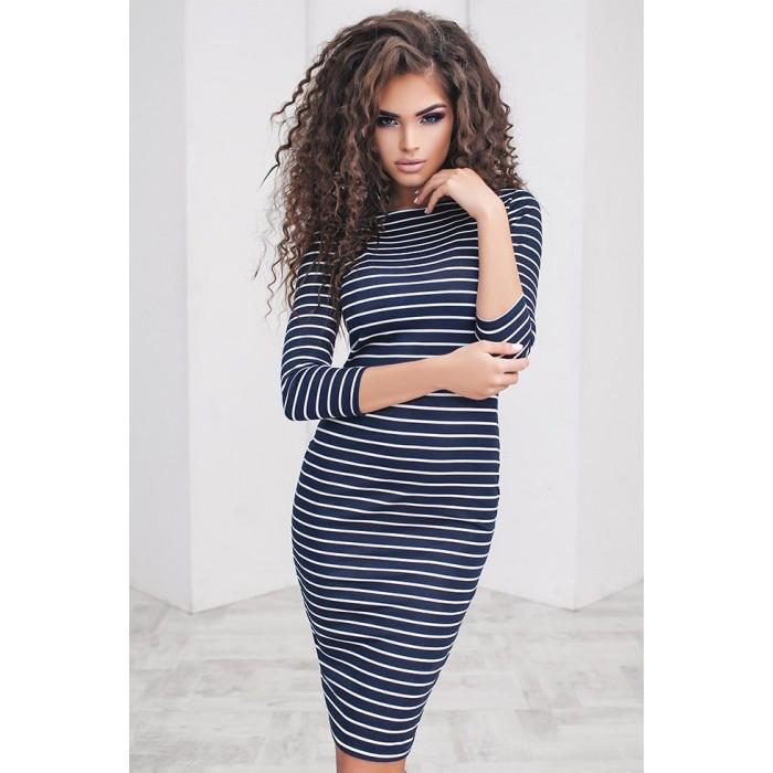 2f338d9b13c Темно-синие трикотажное платье в полоску Asia (Код 124)Реплика ...