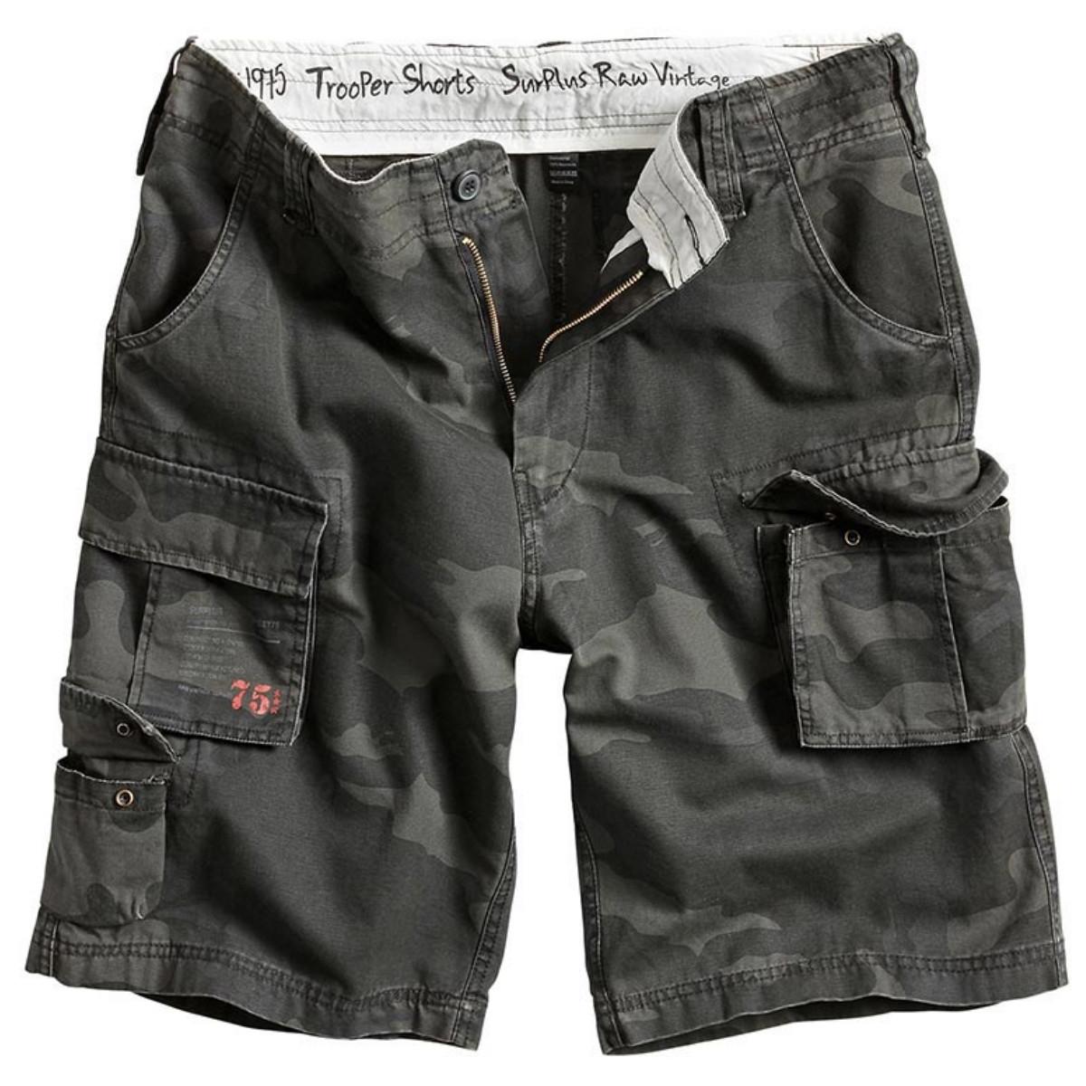 Мужские короткие шорты Surplus Trooper Shorts BLACK CAMO