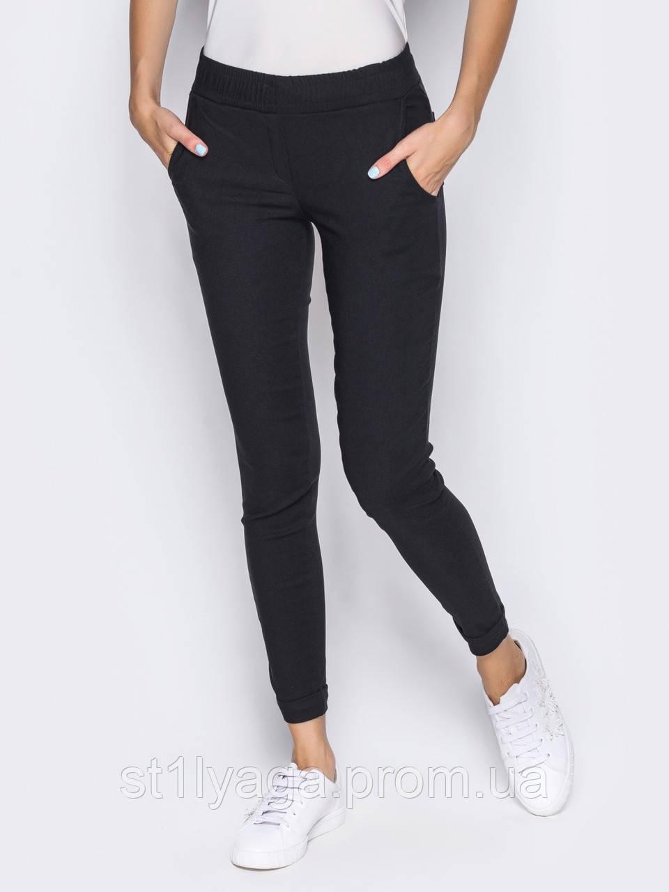 Стрейч-коттоновые брюки с подворотами и поясом на резинке