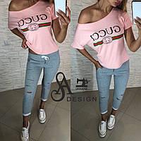 Костюм женский летний футболка и бриджи с принтом Gucci Dmil1081