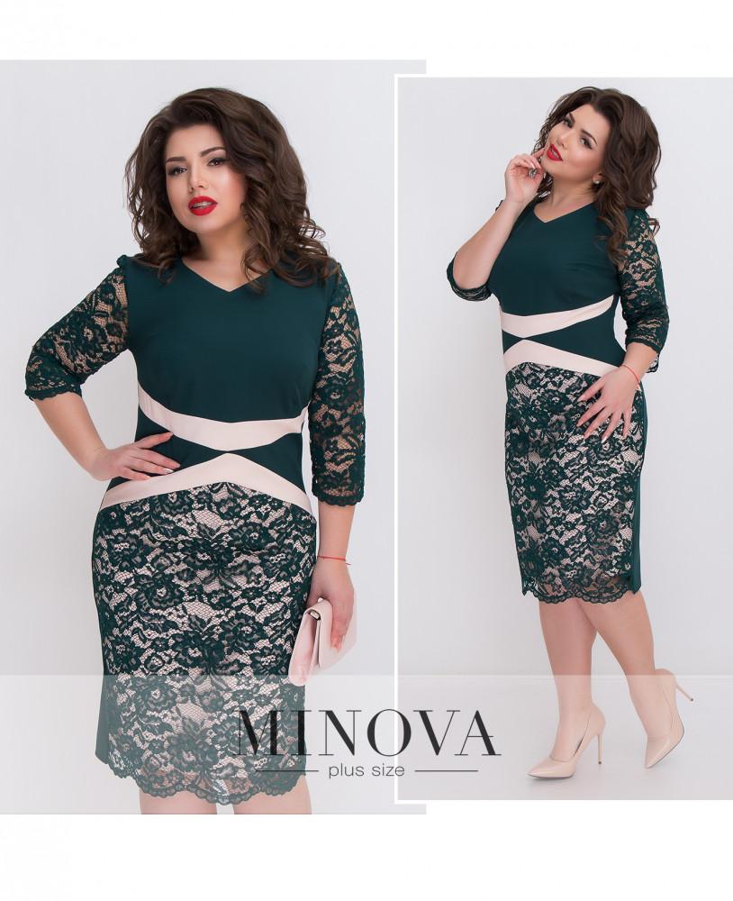 2d223643115 Женственное кружевное платье-футляр с контрастными силуэтными вставками  (размеры 48-56) -